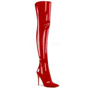 Röd Lackläder 13 cm COURTLY-3012 Pleaser Lårhöga Stövlar