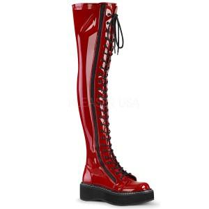 Röd Lackläder 5 cm EMILY-375 lårhöga stövlar med snörning