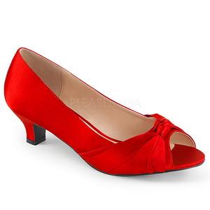 Röd Satin 5 cm FAB-422 stora storlekar pumps skor