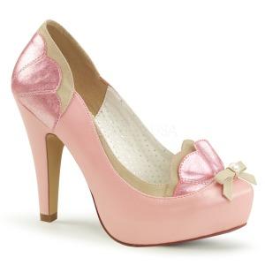 Rosa 11,5 cm BETTIE-20 Pinup pumps skor med dold platå