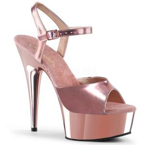 Rosa 15 cm Pleaser DELIGHT-609 Krom Högklackade Sandaletter