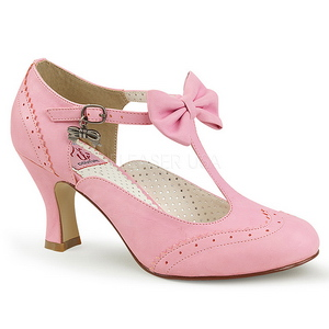 Rosa 7,5 cm FLAPPER-11 Pinup pumps skor med låg klack