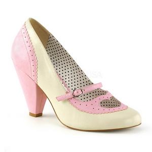 Rosa 9,5 cm retro vintage POPPY-18 Pinup pumps skor med låg klack