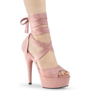 Rosa Konstläder 15 cm DELIGHT-679 högklackade skor med ankelband