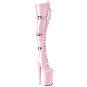 Rose Patent 25,5 cm BEYOND-3028 platform extrem heels thigh high boots