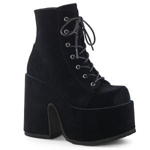 Sammet 13 cm CAMEL-203 Svarta boots med platåklack från demonia