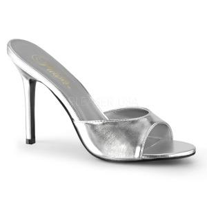 Silver 10 cm CLASSIQUE-01 dam tofflor med höga klack