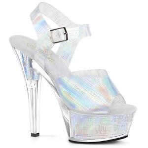 Silver 15 cm KISS-208N-CRHM Hologram platform high heels shoes