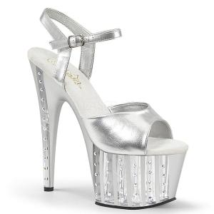 Silver 18 cm ADORE-709VLRS platå klackar skor med strass stenar