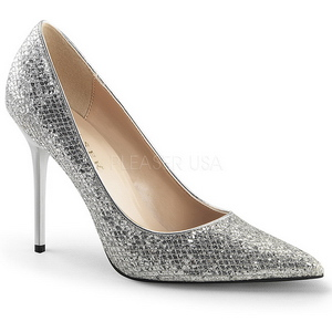 Silver Glitter 10 cm CLASSIQUE-20 spetsiga pumps med stilettklackar