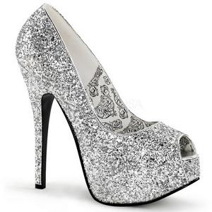 Silver Glitter 14,5 cm Burlesque BORDELLO TEEZE-22G Höga Platåpumps