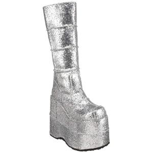 Silver Glitter 18 cm STACK-301G demonia stövlar - unisex cyberpunk stövlar