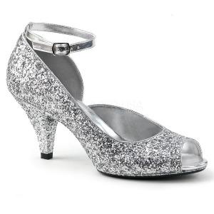 Silver Glittrig 7,5 cm BELLE-381G dam pumps skor med öppen tå