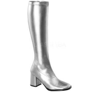 Silver Matte 8,5 cm GOGO-300 High Heeled Womens Boots for Men
