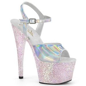 Silver glitter platå 18 cm ADORE-709HGG pleaser high heels skor