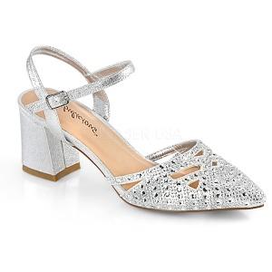 Silver glittrig 7 cm Fabulicious FAYE-06 högklackade sandaletter