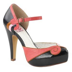 Svart 11,5 cm BETTIE-17 Pinup pumps skor med dold platå