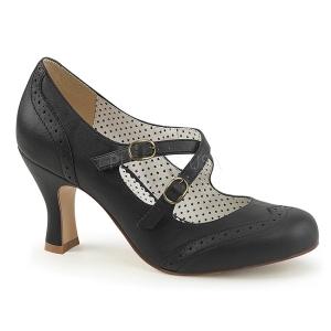 Svart 7,5 cm retro vintage FLAPPER-35 Pinup pumps skor med låg klack