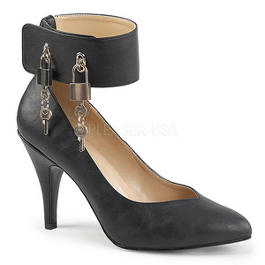 Svart Konstläder 10 cm DREAM-432 stora storlekar pumps skor