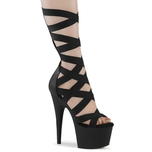 Svart Konstläder 18 cm ADORE-700-48 högklackade skor med ankelband