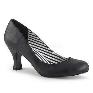 Svart Konstläder 7,5 cm JENNA-01 stora storlekar pumps skor