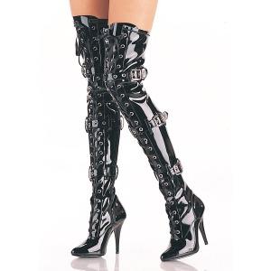 Svart Lackläder 12,5 cm SEDUCE-3028 Sexy Overknee Stövlar