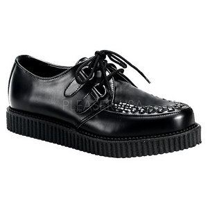Svart Läder 2,5 cm CREEPER-602 Platå Creepers Skor för Män