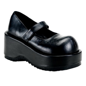 Svart Matt 8,5 cm DOLLY-01 Goth Pumps Skor Dam Platå