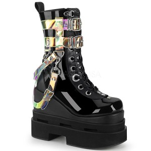 Svart Vegan 12,5 cm ETERNAL-115 demonia wedge stövletter med kilklack