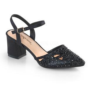Svart glittrig 7 cm Fabulicious FAYE-06 högklackade sandaletter