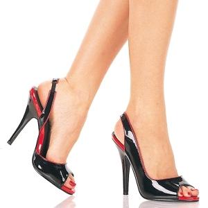 Svarta slingback lackpumps 13 cm SEDUCE-117 högklackade slingback skor