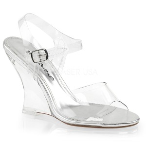 Transparent 10,5 cm LOVELY-408 Wedge Sandaletter med Kilklack