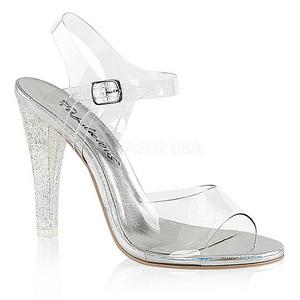 Transparent 11,5 cm CLEARLY-408MG Höga fest sandaler med klack