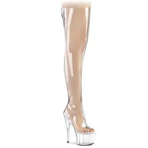 Transparent 18 cm ADORE-3021 Sexy Overknee Stövlar