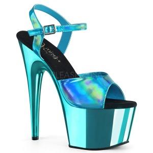 Turkosblå 18 cm ADORE-709HGCH Hologram platå klackar skor
