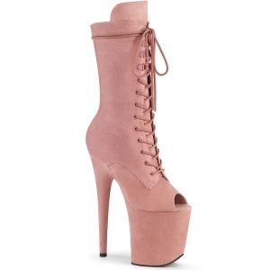 Vegan 20 cm FLAMINGO-1051FS Exotic platform peep toe boots rose