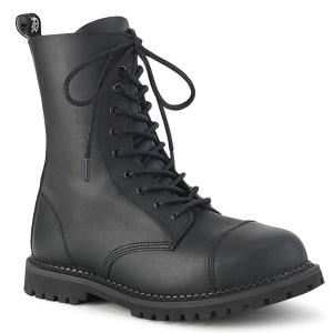 Vegan läder RIOT-10 demonia ståltå stövletter - unisex militära stövlar