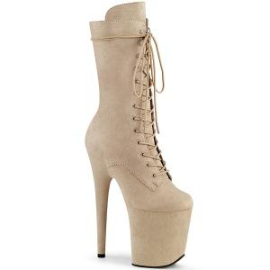 Vegan suede 20 cm FLAMINGO-1050FS Exotic pole dance boots in beige