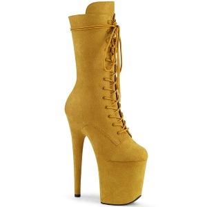 Vegan suede 20 cm FLAMINGO-1050FS kvinna platåstövlar - pole dance stövlar i gul