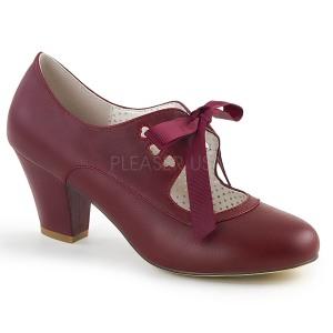 Vinröd 6,5 cm WIGGLE-32 Pinup pumps skor med blockklack