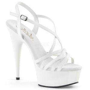 Vit 15 cm Pleaser DELIGHT-613 Högklackade sandaletter med platå