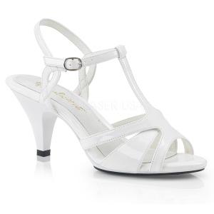 Vit 8 cm Fabulicious BELLE-322 kvinnor sandaler med låg klack