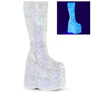 Vit Glitter 18 cm STACK-301G demonia stövlar - unisex cyberpunk stövlar