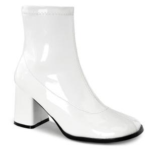 Vit Lackläder 7,5 cm GOGO-150 stretch ankleboots med blockklack till kvinnor
