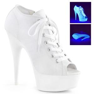 Vit Neon 15 cm DELIGHT-600SK-01 canvas sneakers med hög klack