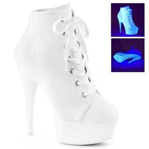 Vit Neon 15 cm DELIGHT-600SK-02 canvas sneakers med hög klack