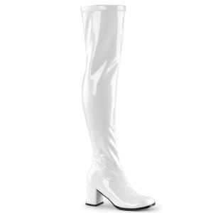 Vita lårhöga vinylstövlar 7,5 cm vinyl - 70 tal hippie disco gogo lårhöga boots