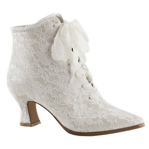 White 12 cm VICTORIAN-30 Lace Up Ankle Calf Women Boots