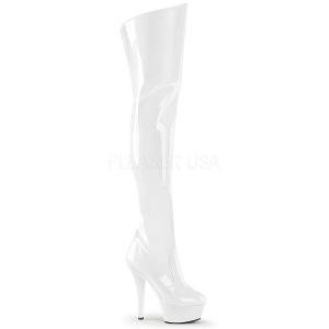 White 15 cm KISS-3010 Platform Thigh High Boots