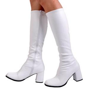 White Pu 7,5 cm Funtasma GOGO-300 Women Knee Boots